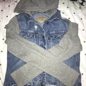 Hollister Co. denim jacket with rips.